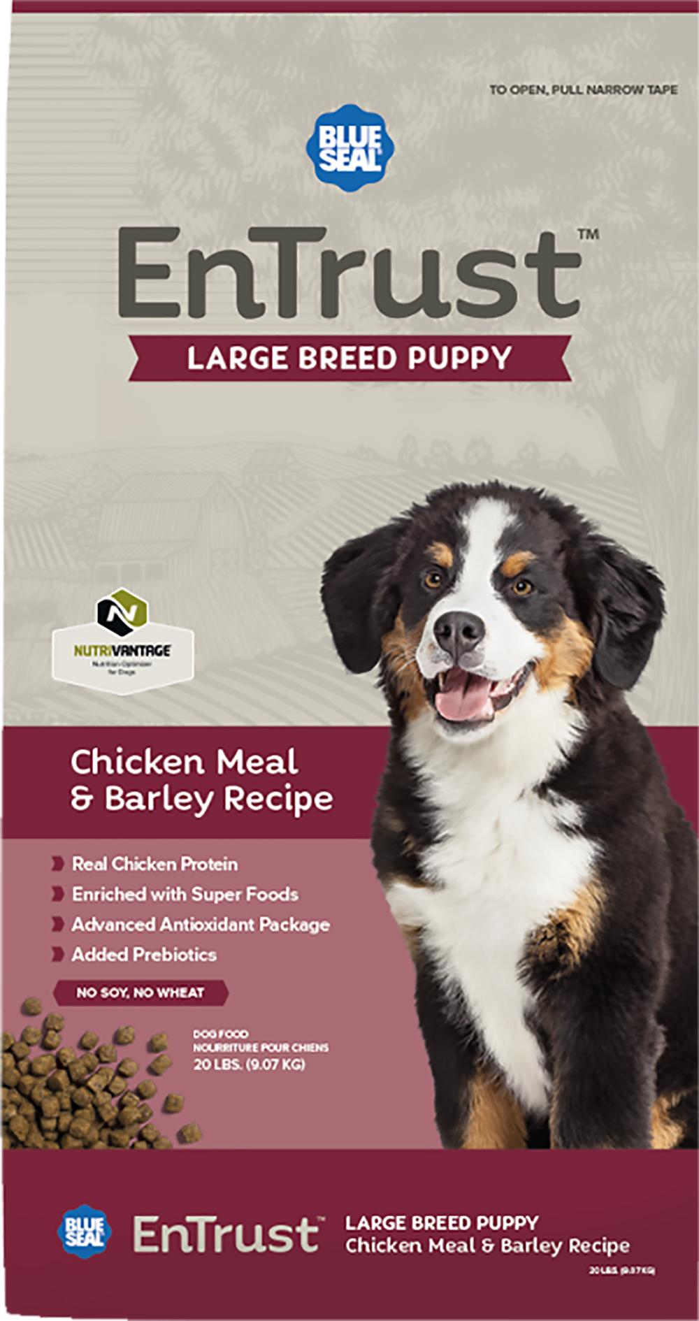 Blue Seal Entrust Lg Breed Puppy Chicken Amp Barley 40 Lb