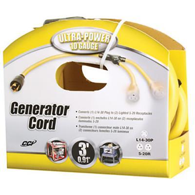 COLEMAN ULTRA POWER GENERATOR CORD YELLOW 3 FT