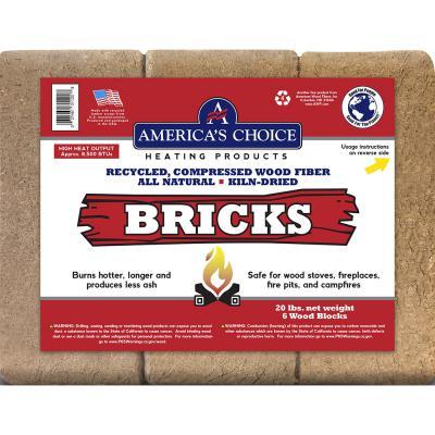 American Choice Heating Bricks 20 lb. (6 Wood Blocks)